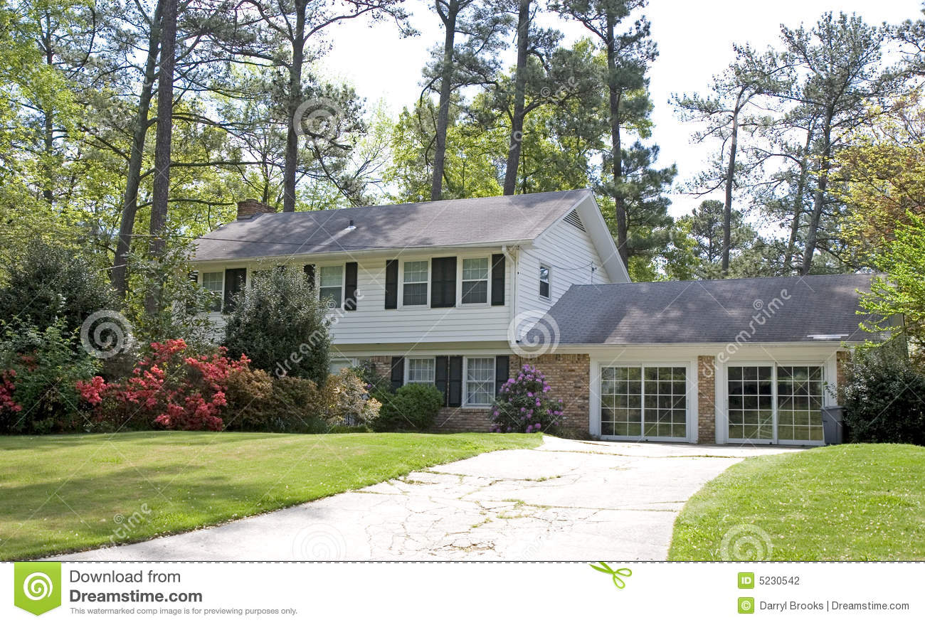 Split level house in spring stock photography image 5230542 for Split house