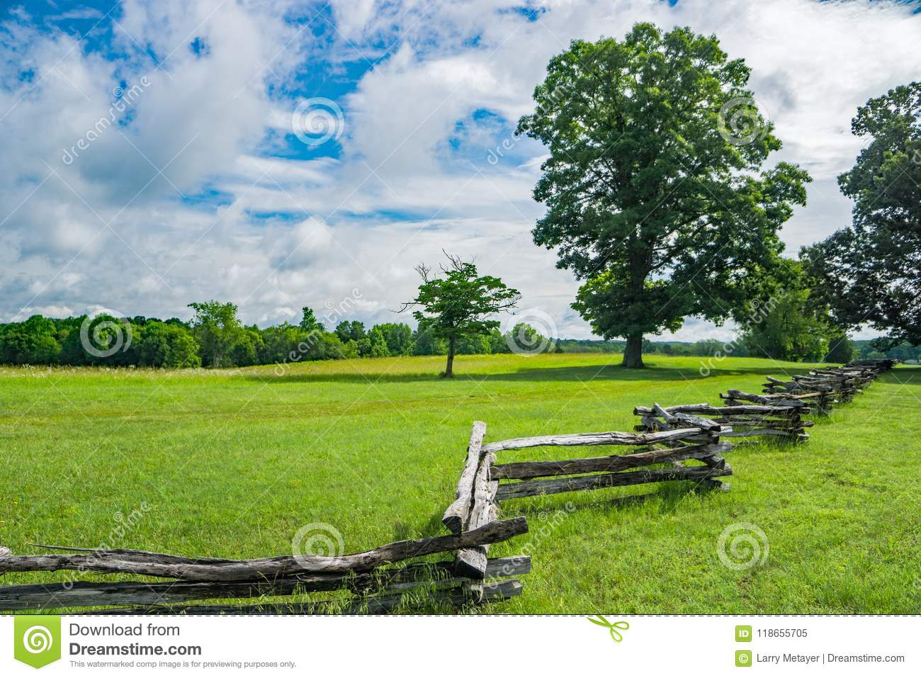 Split Rail Fence in a Field on a Beautiful Spring Day