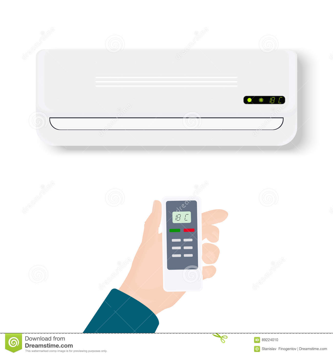 Split System Air Conditioner.Realistic Conditioner With Hand Holding Remote  Control. Vector Illustration Isolated On