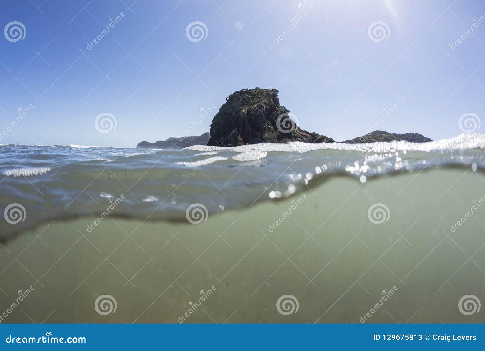 Split View of Lion Rock Piha Beach