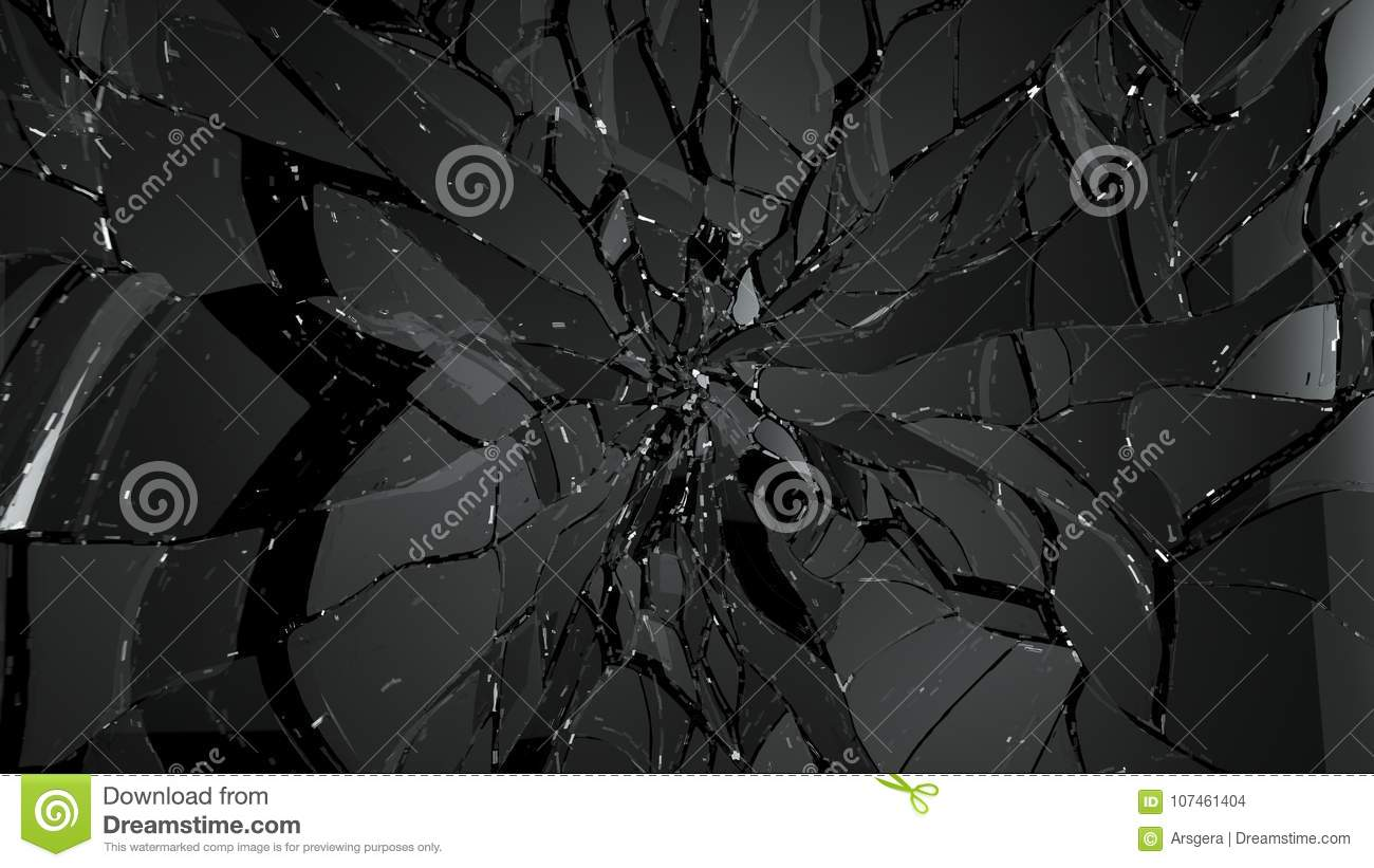 Splitted Or Cracked Glass On Black Stock Illustration