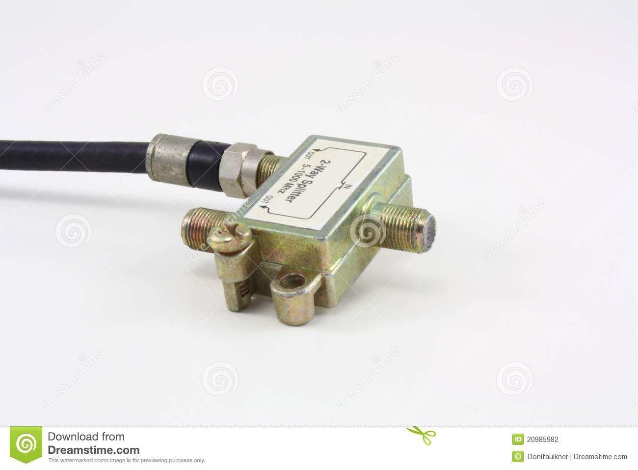 Splitting Cable Tv And Internet : Splitter stock photography image