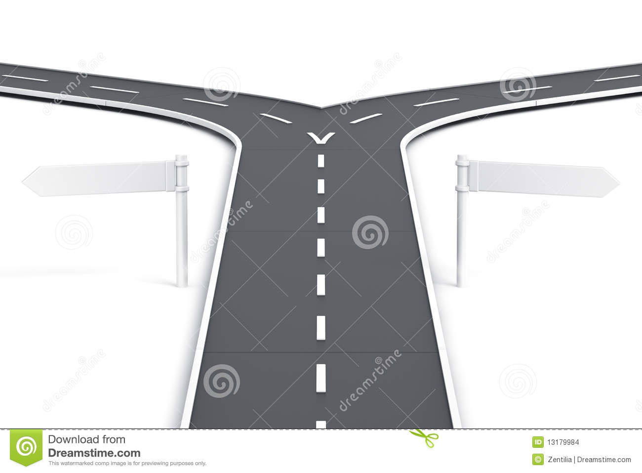 splitting road with blank road signs stock illustration