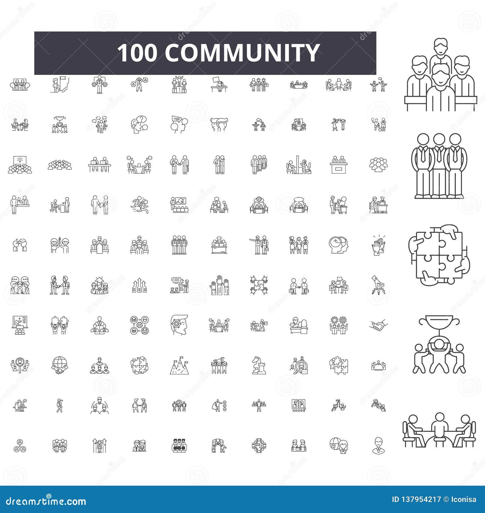 Społeczności editable kreskowe ikony, 100 wektorów set, kolekcja Społeczności czerni konturu ilustracje, znaki, symbole