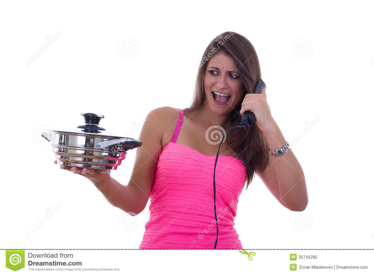 Spoiled Girl Hates Cooking Stock Image Image Of Brown