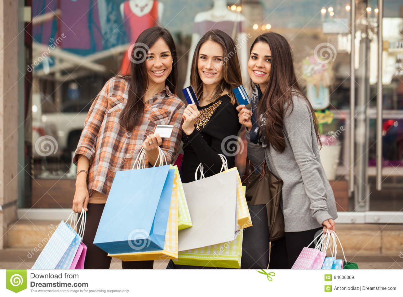 Spoiled Women Using Their Credit Cards At A Mall Stock Image Image 64606309