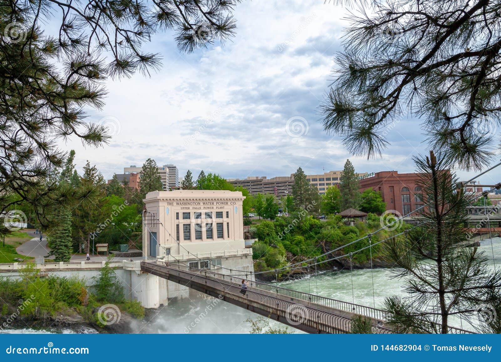 SPOKANE, WASHINGTON, DE V.S. - 16 MEI, 2018: De Washington Water Power Upper Falls-Elektrische centrale in Spokane van de binnens