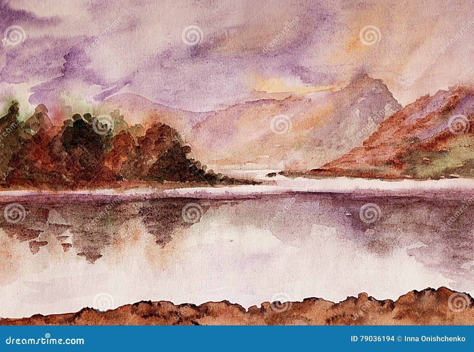 Spokojna rzeka akwarela