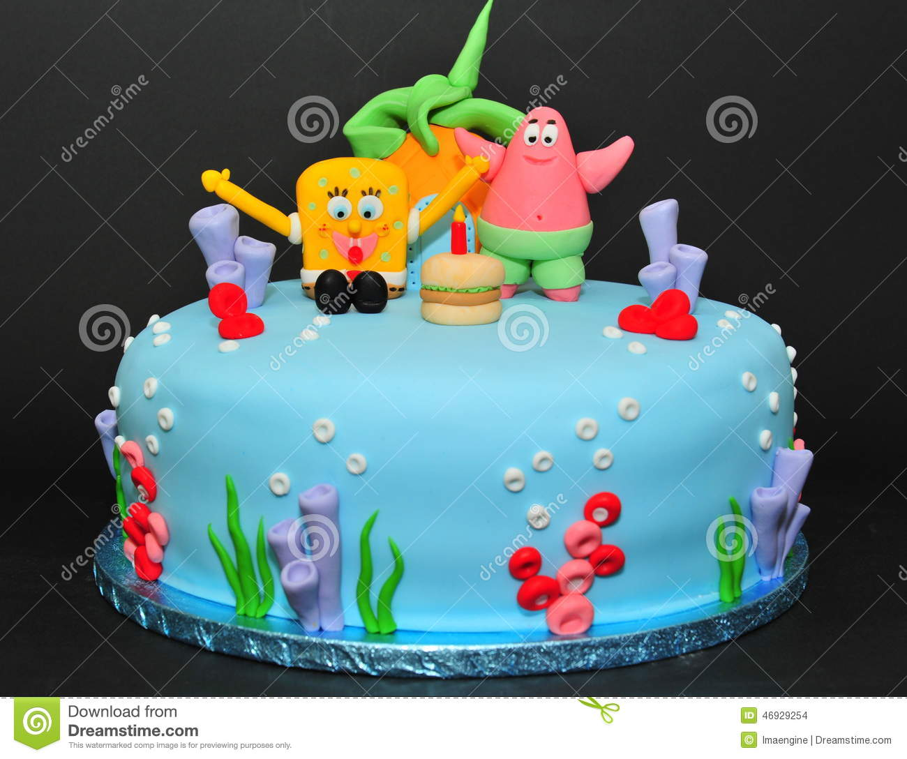 Birthday Cake Images With Cartoon Character : Sponge Bob Cake Editorial Stock Image - Image: 46929254