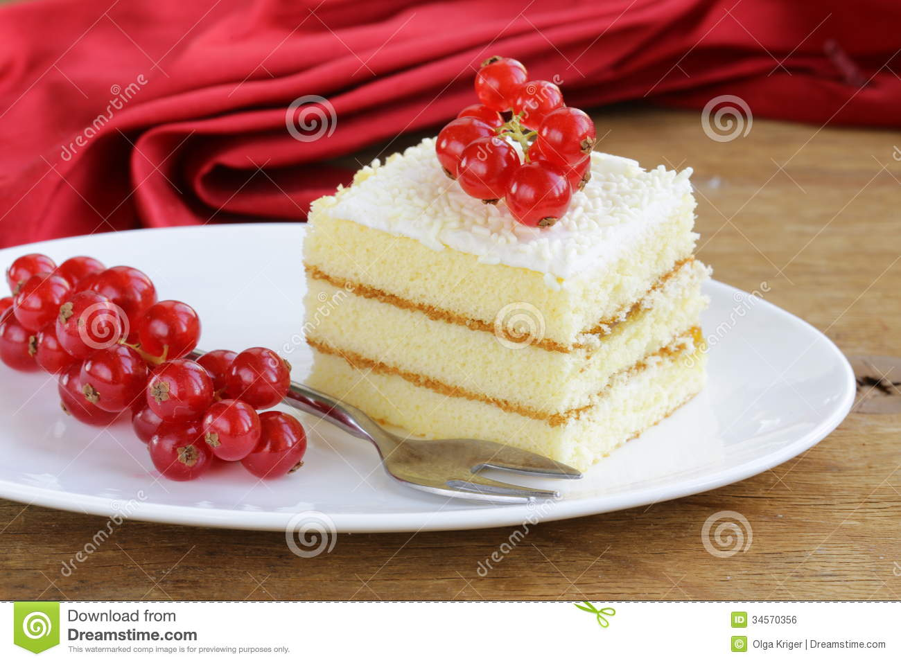 Sponge Cake With White Chocolate, Decorated With Currant ...