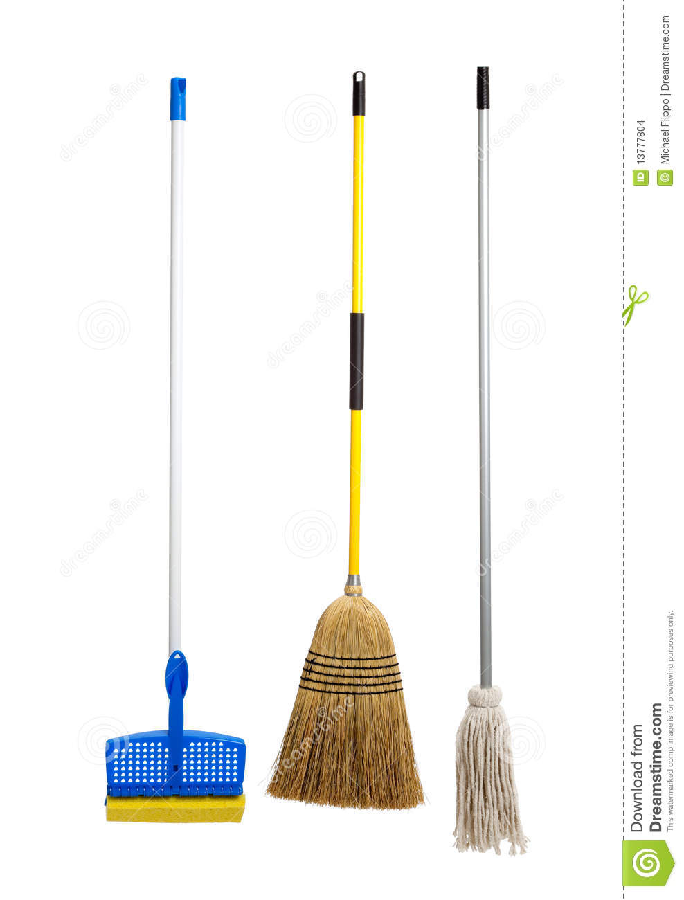 Blue and yellow sponge mop, broom and string mop on a white background ...