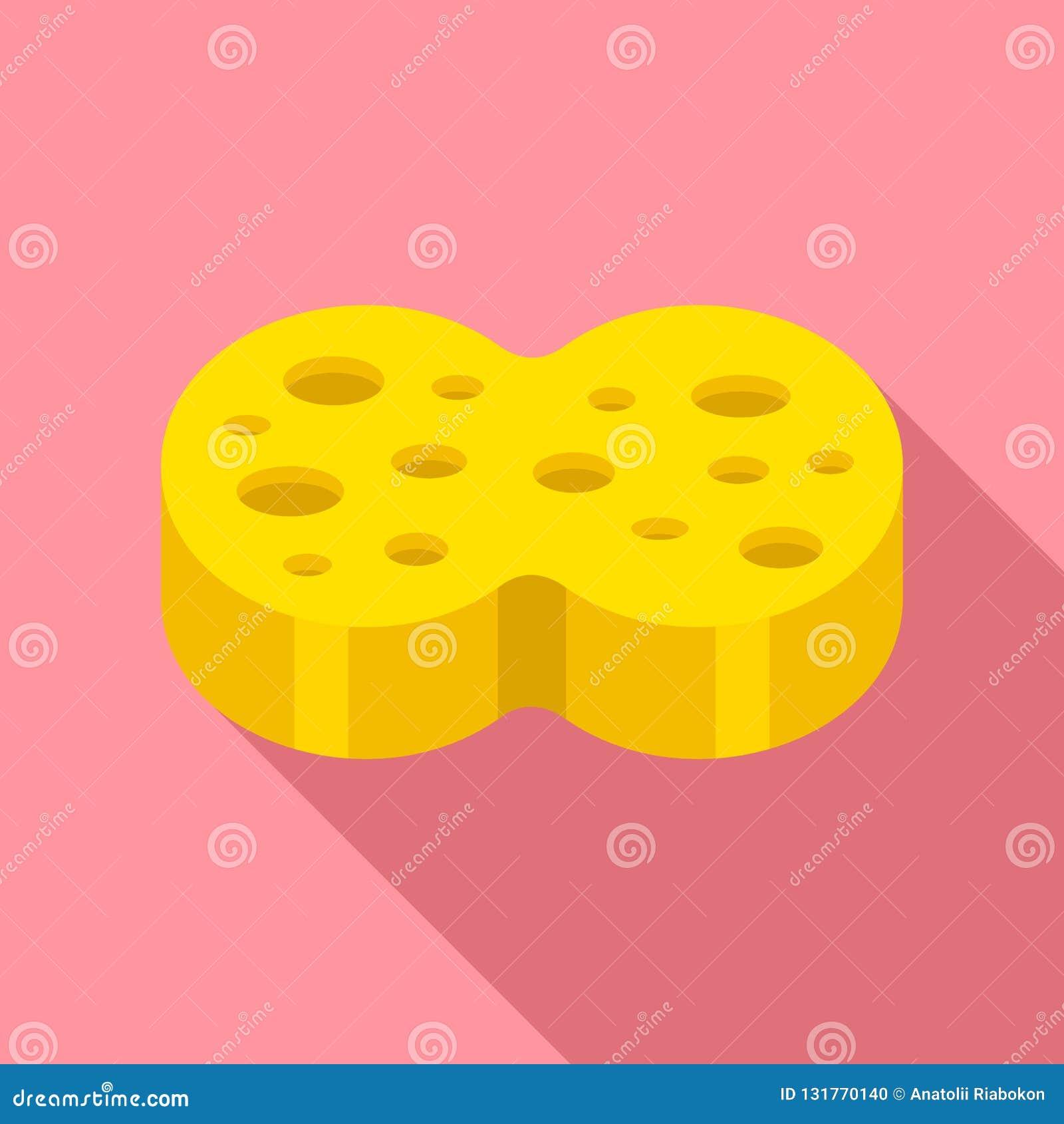 Sponge wash icon, flat style