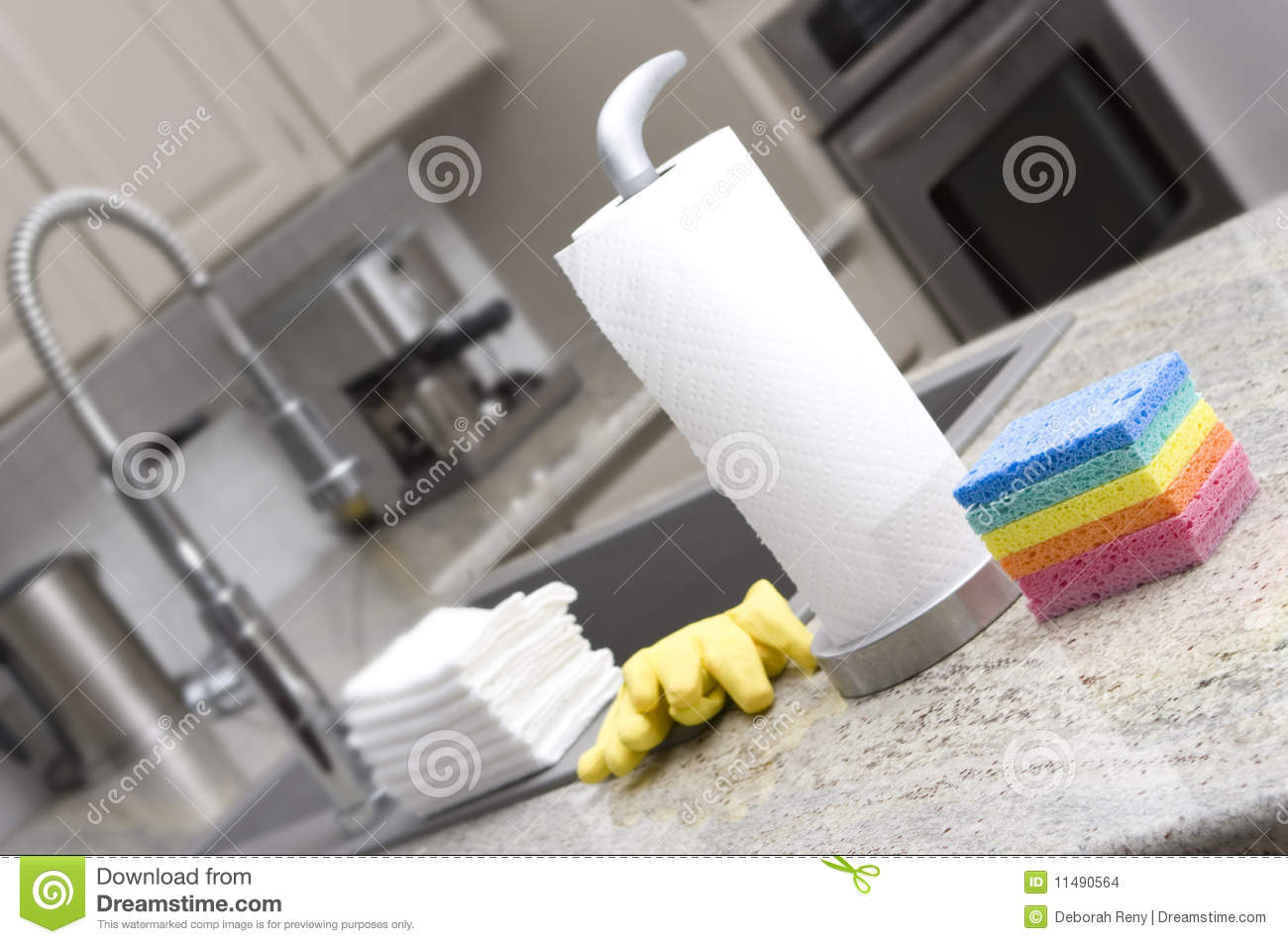 Sponges, paper towels, gloves, cloths in kitchen f