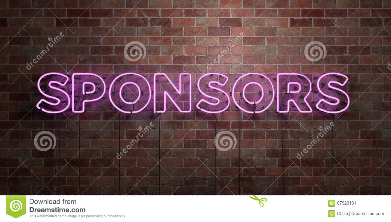 SPONSORS - fluorescent Neon tube Sign on brickwork - Front view - 3D rendered royalty free stock picture