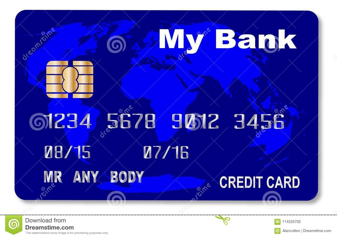 Spoof Blue Credit Card stock vector. Illustration of credit