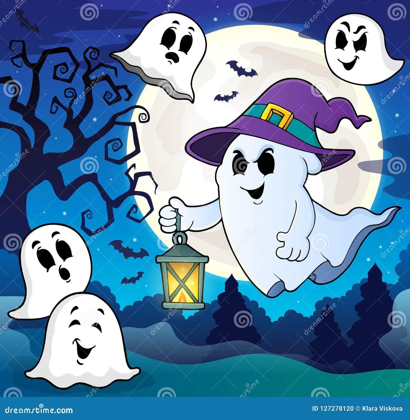 Spook met hoed en lantaarnthema 8