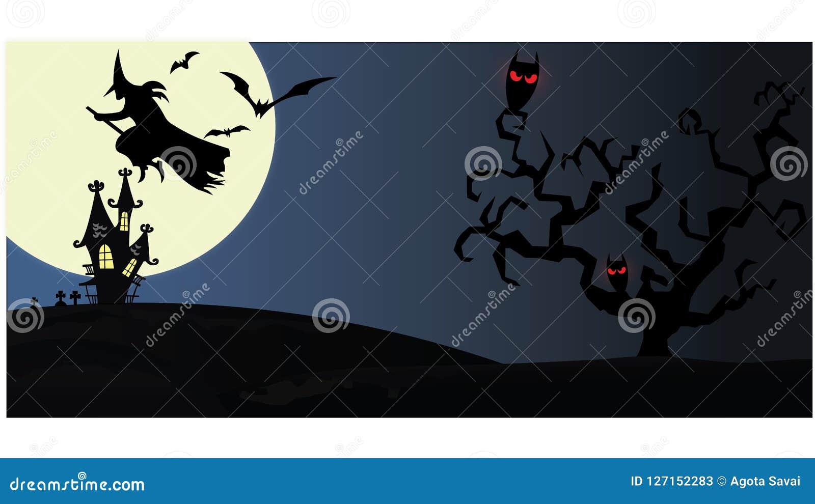 Spookhuis op nachtachtergrond met volle maan