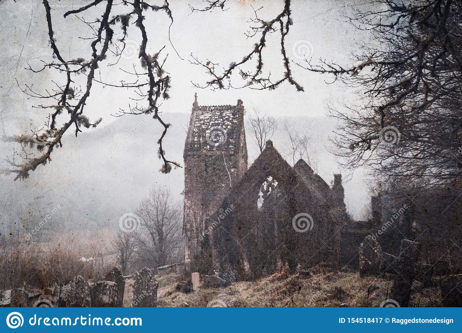 A spooky, abandoned graveyard with a ruined church in the background. With a vintage, grunge edit