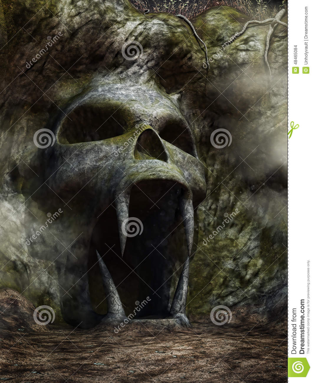 Spooky Cave Entrance Stock Illustration - Image: 48465084
