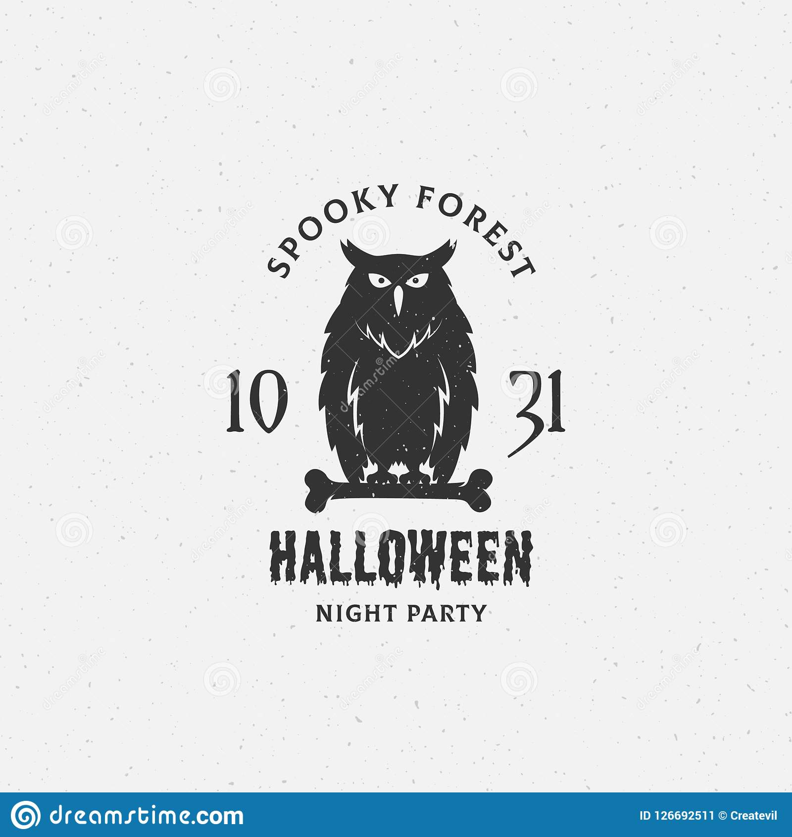Spooky Forest Halloween Vector Label, Emblem Or Card ...