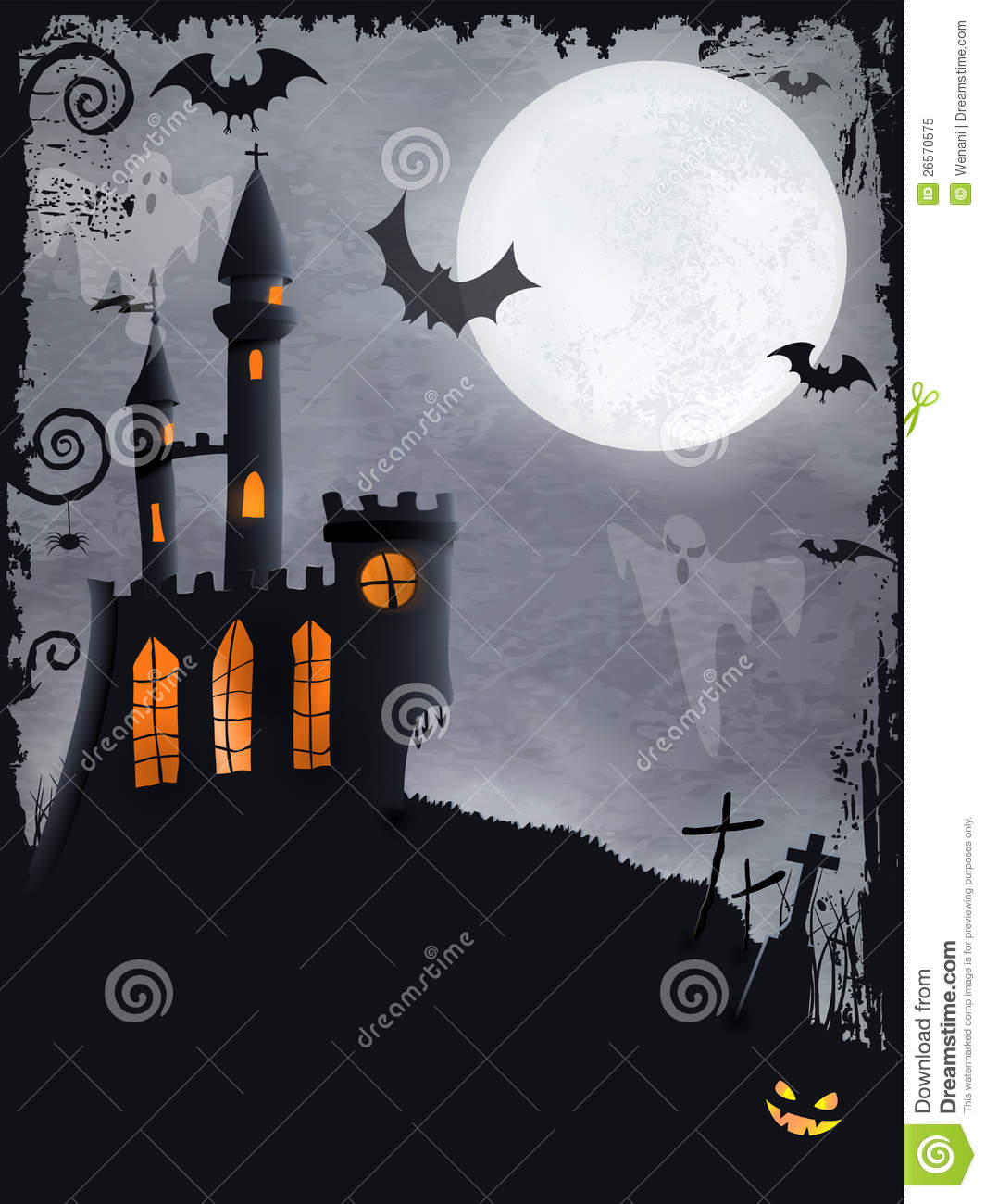 Spooky Halloween Castle, Vector Background Royalty Free ...