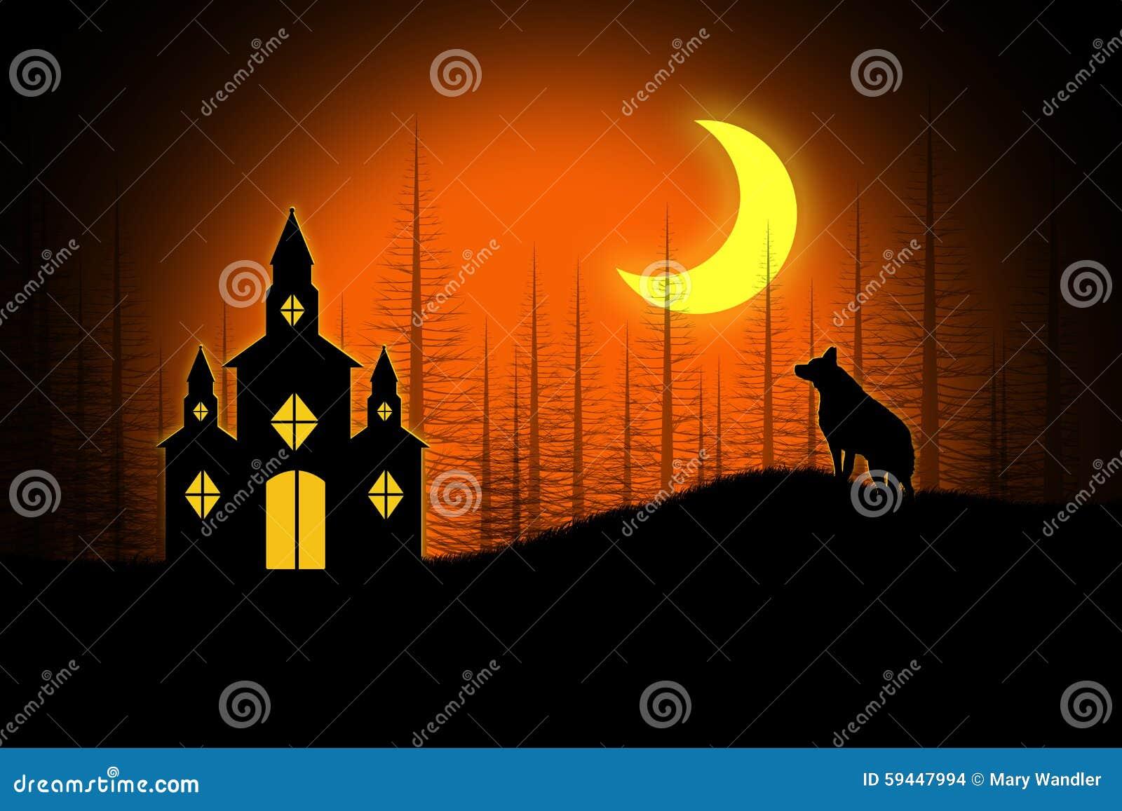 Halloween Chiesa.Spooky Halloween Church Stock Illustration Illustration Of Clipart