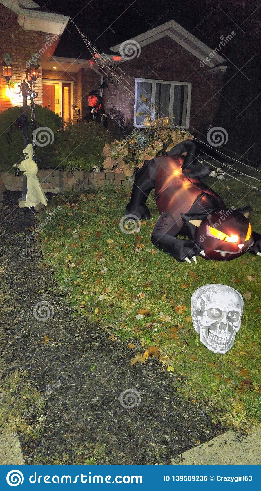 Spooky Halloween Decorations Stock Image of night