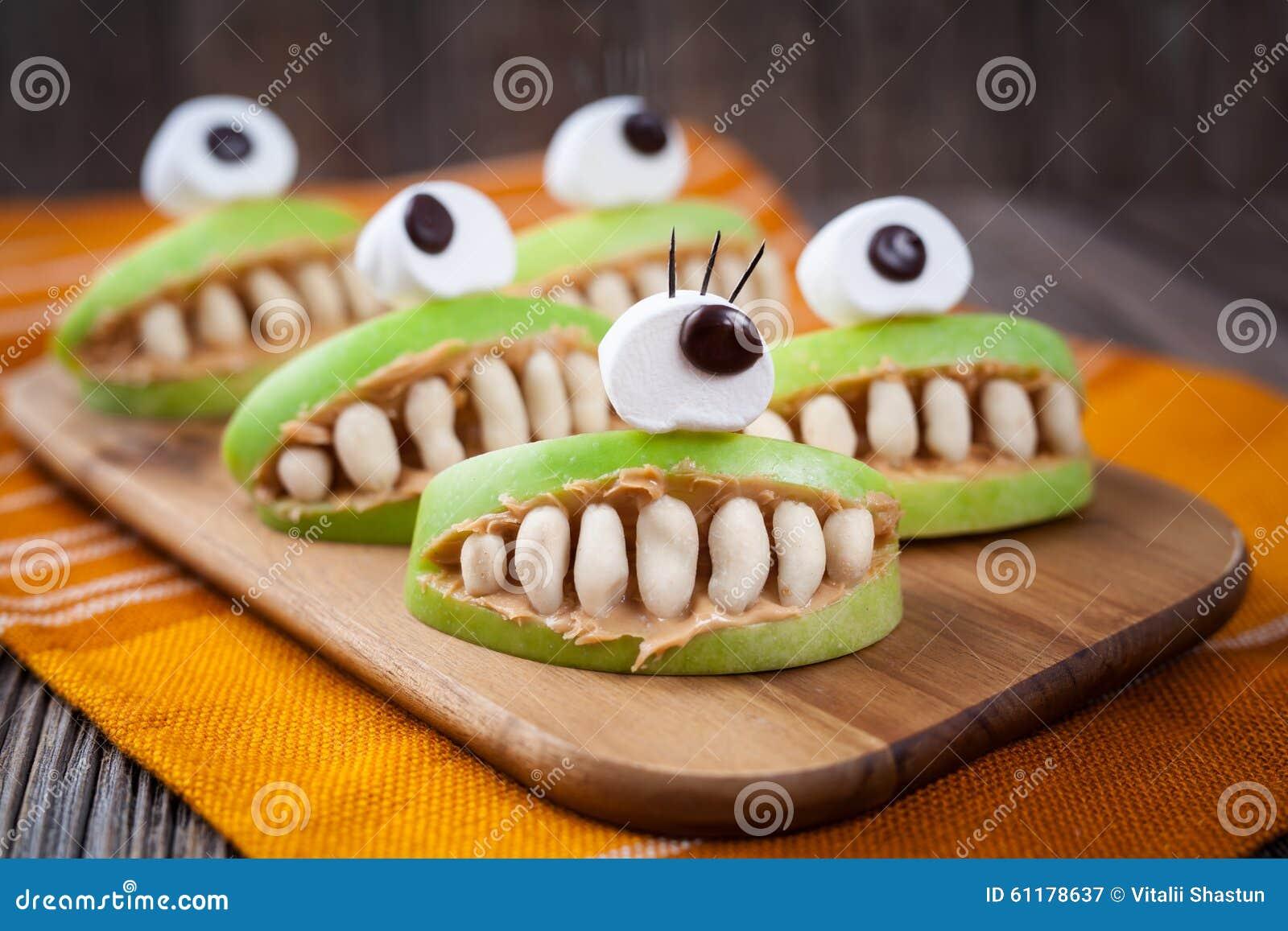 Spooky Halloween Edible Apple Monsters Healthy Stock Image - Image ...