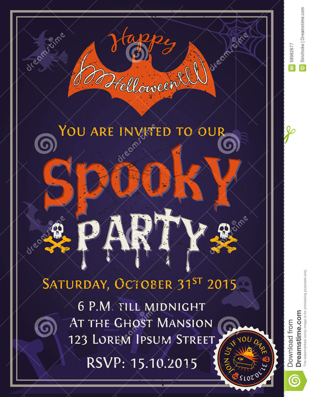 Spooky Halloween Party Invitation Card Design Vector Image – Party Invitation Card Design