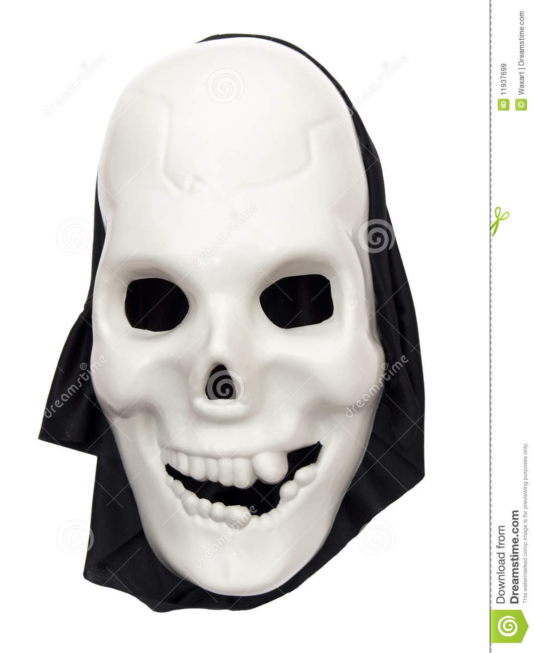 spooky halloween skull mask on white stock image - image of mask
