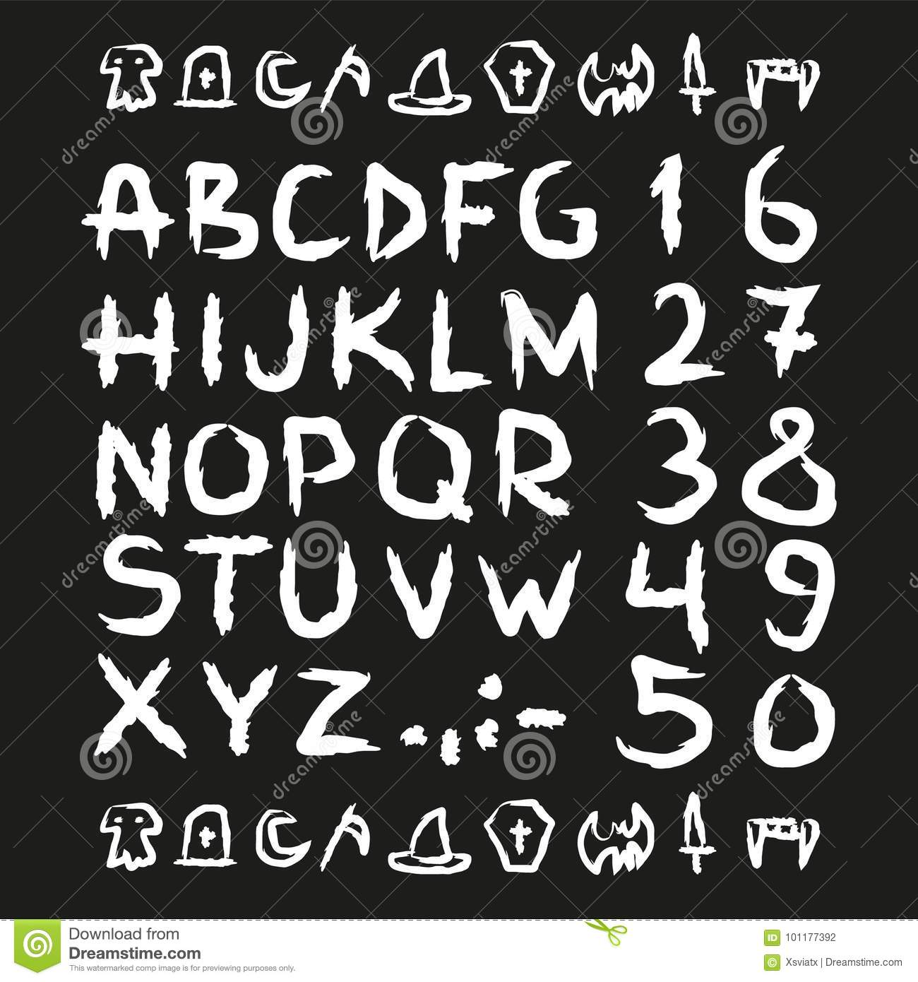 Spooky Hand Drawn Horror Scary Letters Stock Vector Illustration