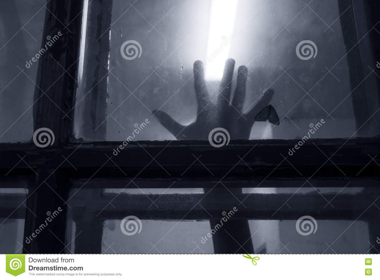 spooky hand on the window stock photo. image of female - 77917212