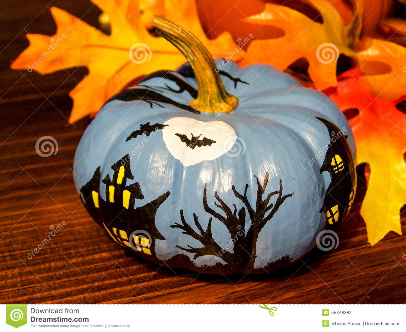 Small Pumpkin Painting Spooky Haunted House Scene Painted On Miniature Pumpkin Stock