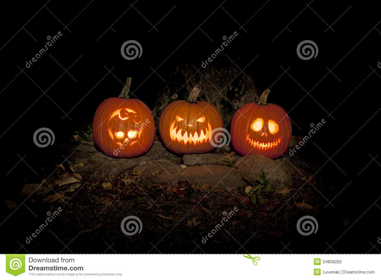 Spooky Jack O Lanterns Outdoors