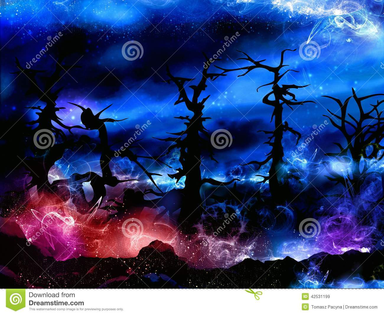 Spooky magical forest with mysterious lights