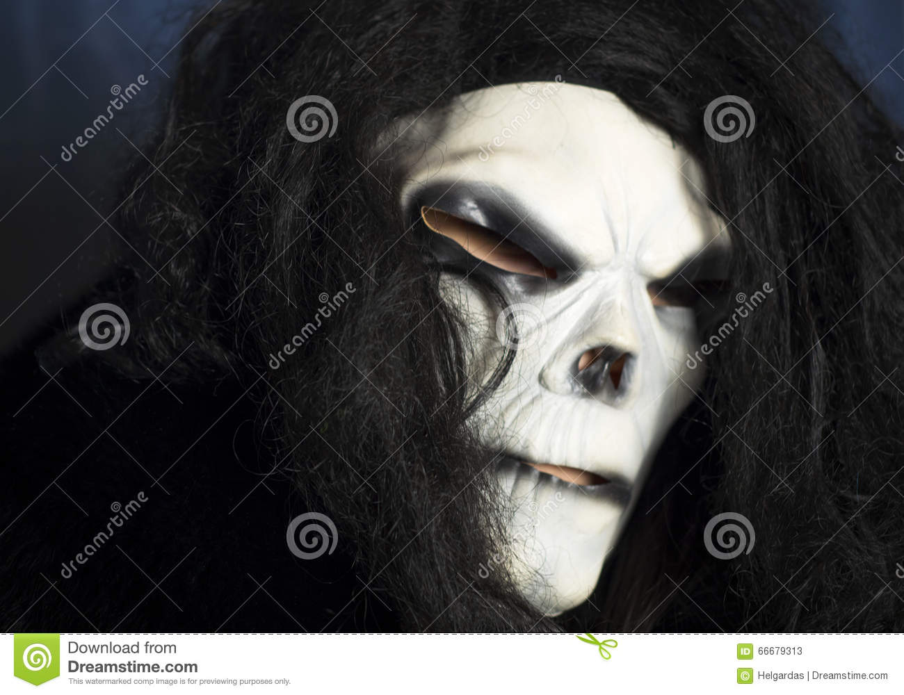 Spooky Mask With Long Black Hair Stock Image Image Of Painted