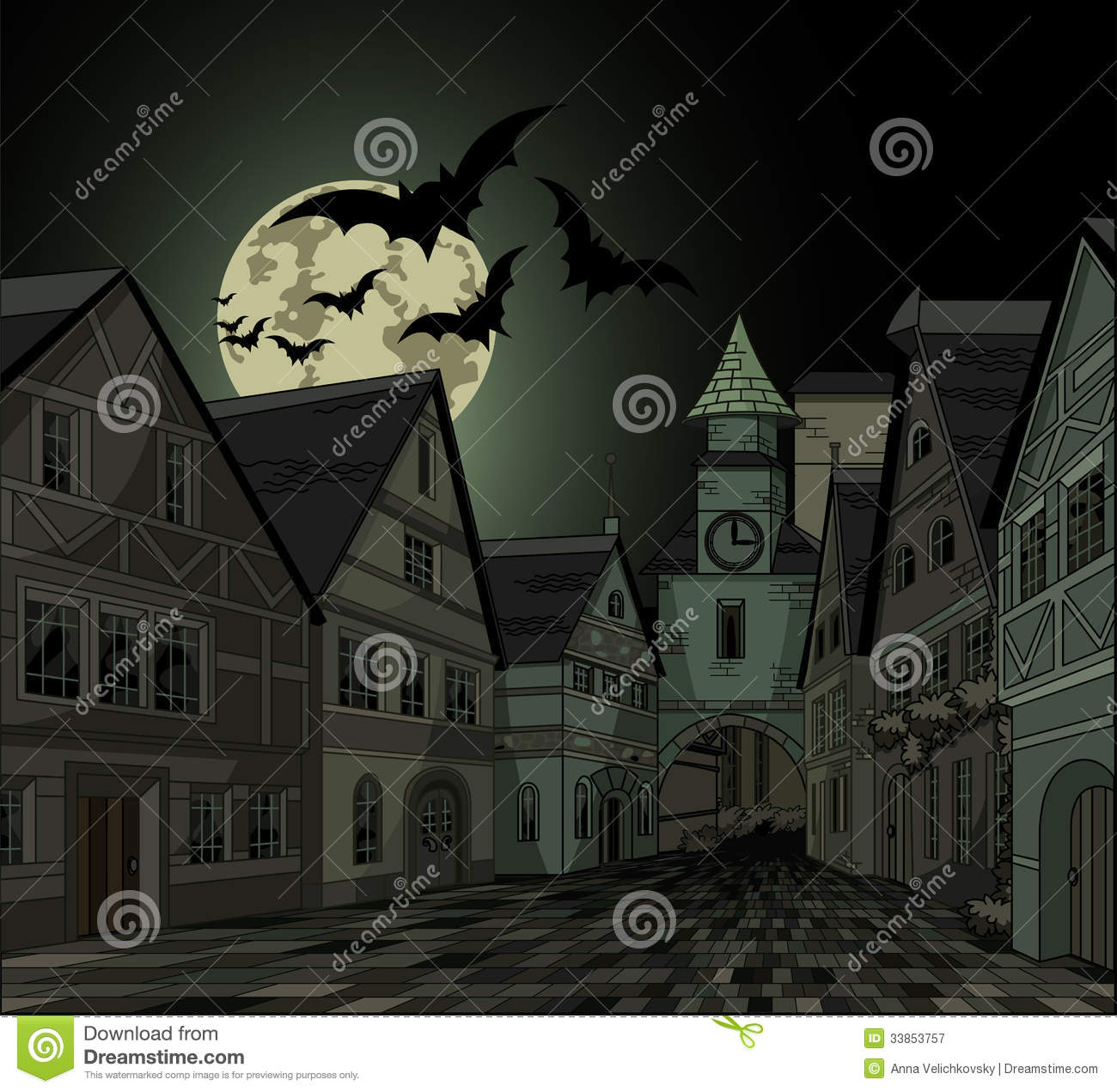 spooky night at town stock vector. illustration of moon - 33853757