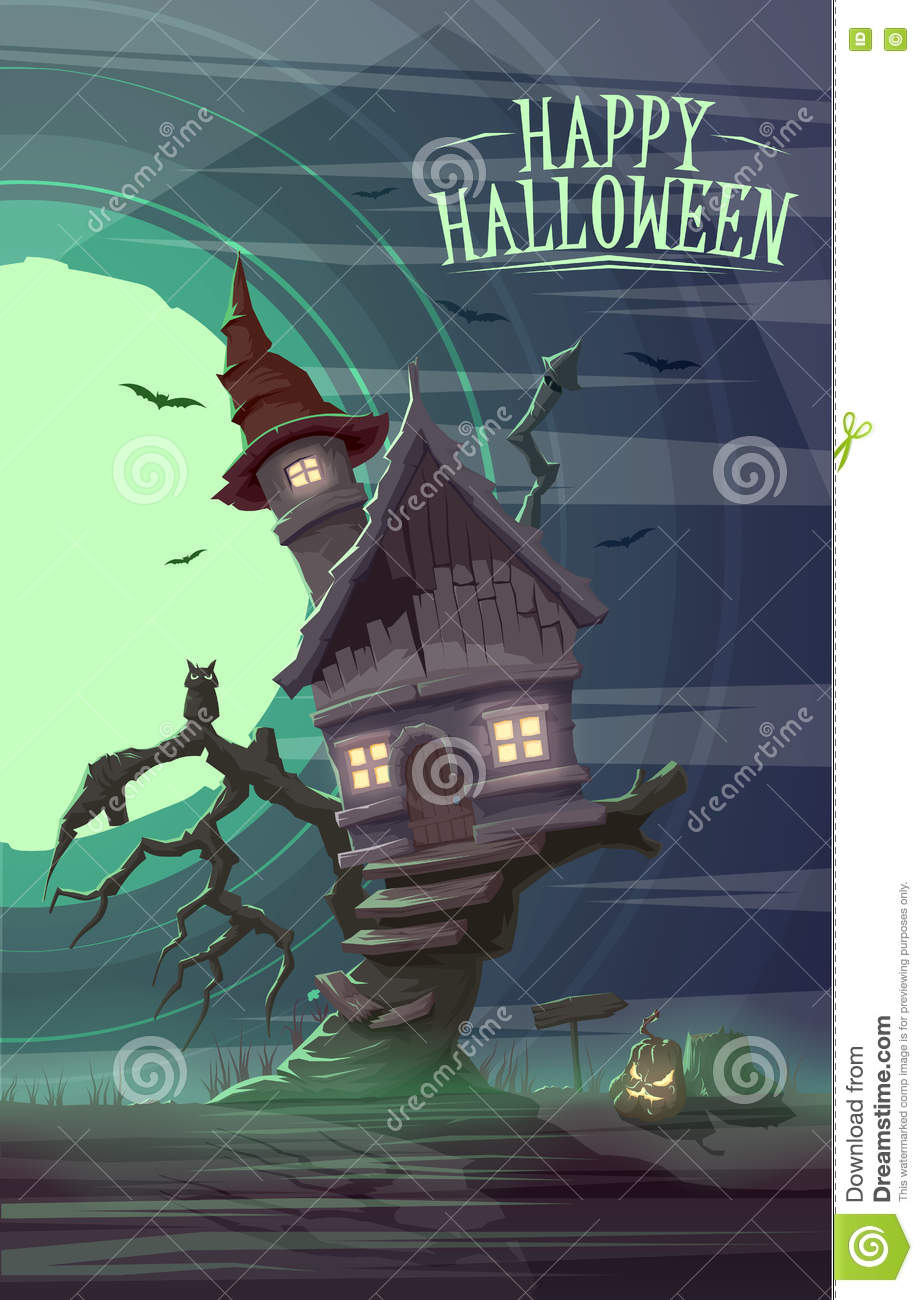 Spooky old house of witch on the tree. Happy Halloween cardposter