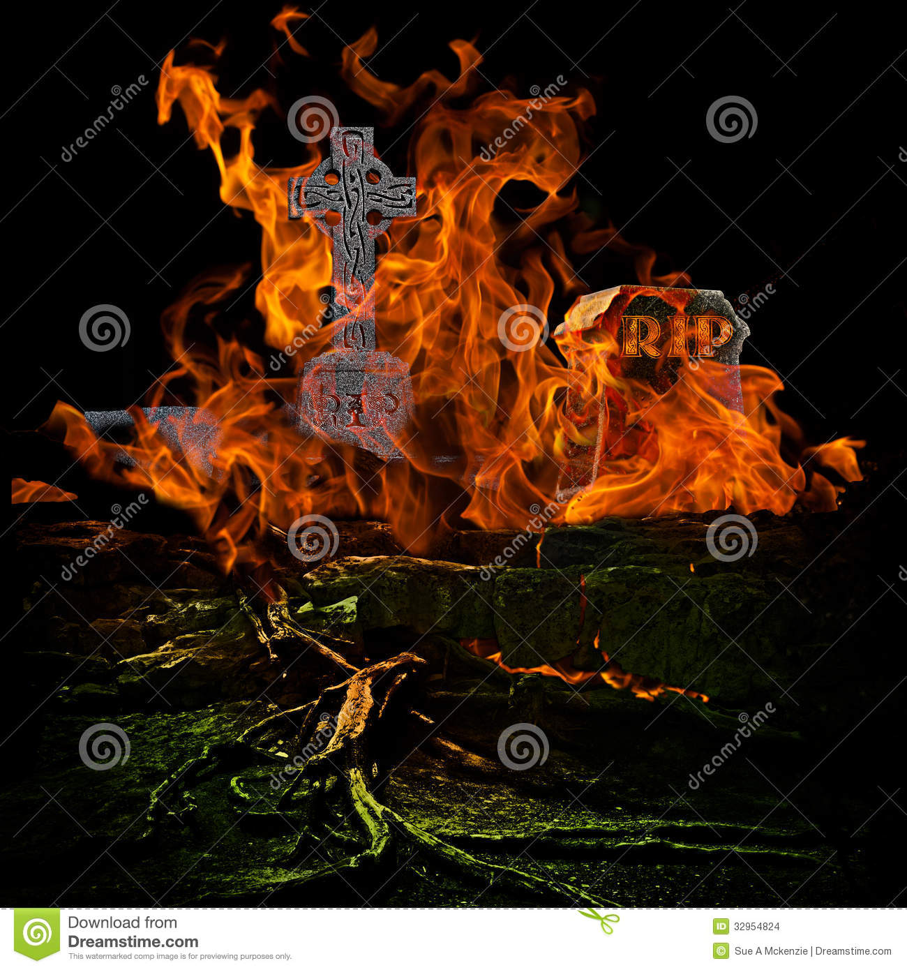 Spooky Scary Graveyard With Burining Fire And Flames