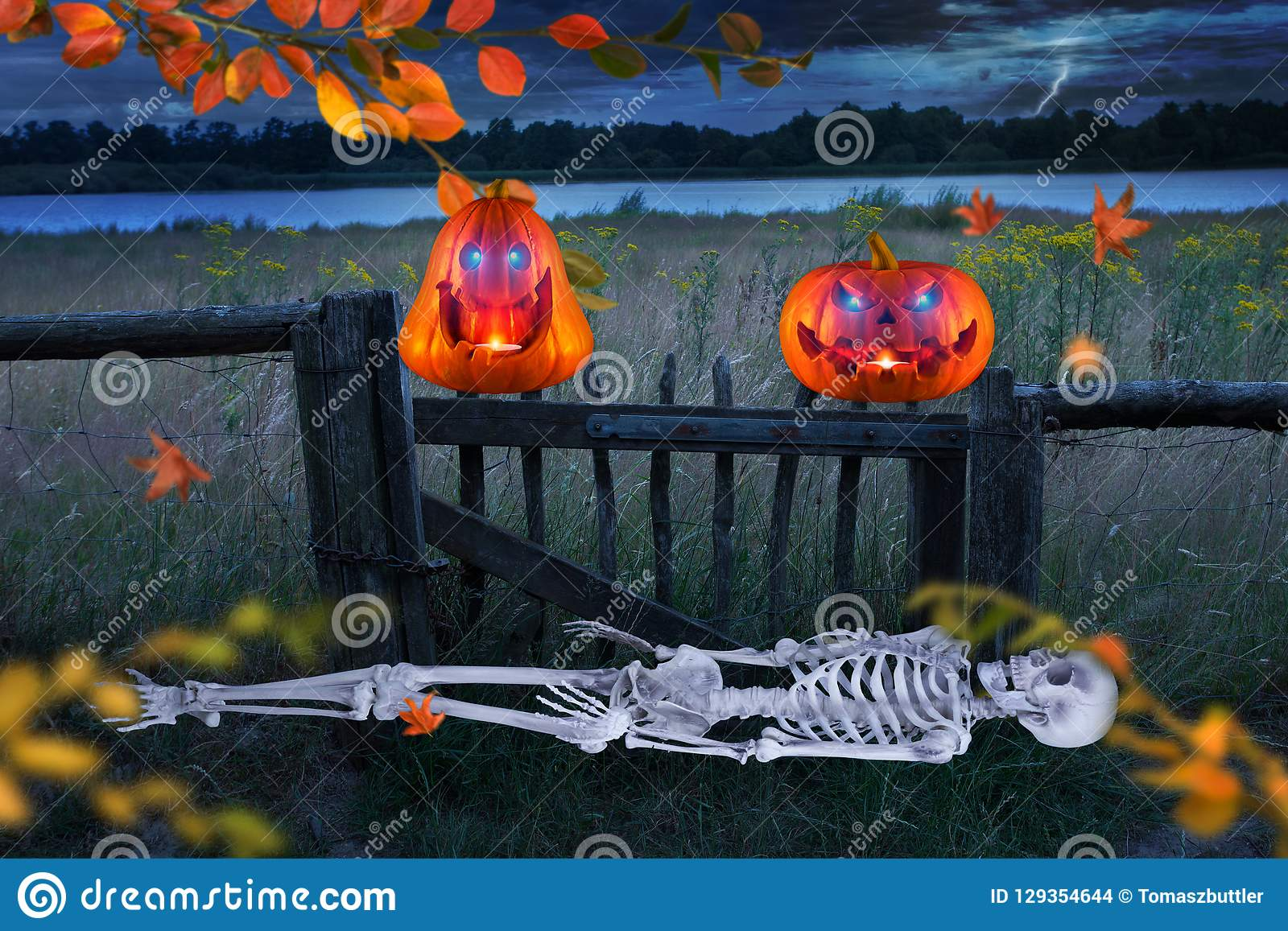 Spooky orange halloween pumpkins with glowing eyes in front of a meadow. Skeletton is lying on the ground.