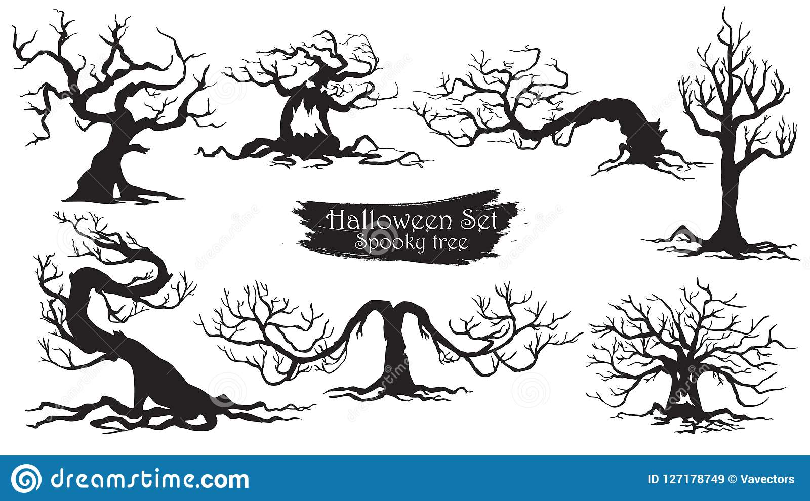 Spooky Trees Silhouette Collection Of Halloween Vector Isolated Stock Vector Illustration Of Halloween Haunted 127178749