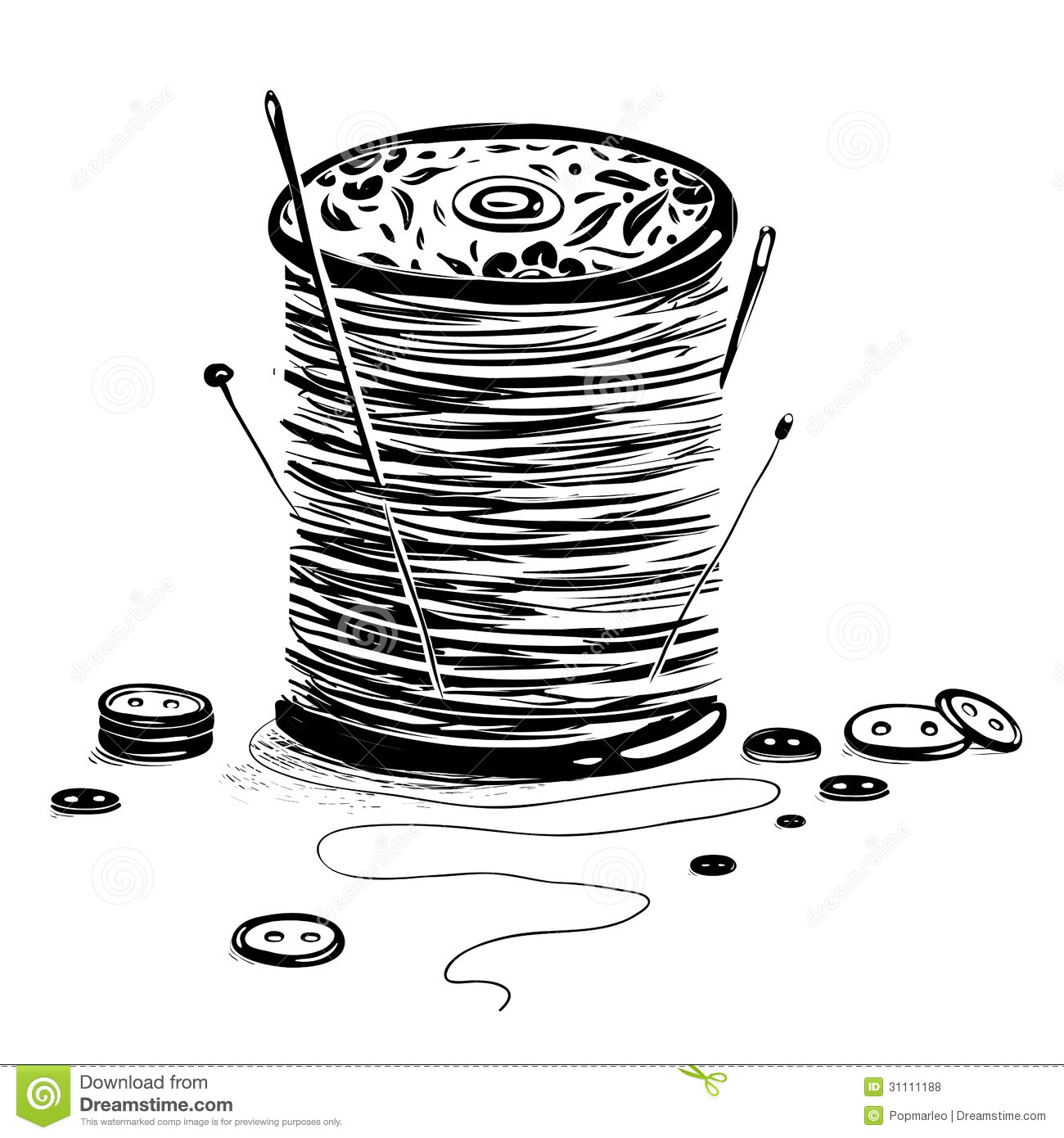 Spool Of Thread And Needles Stock Vector - Illustration of full ...