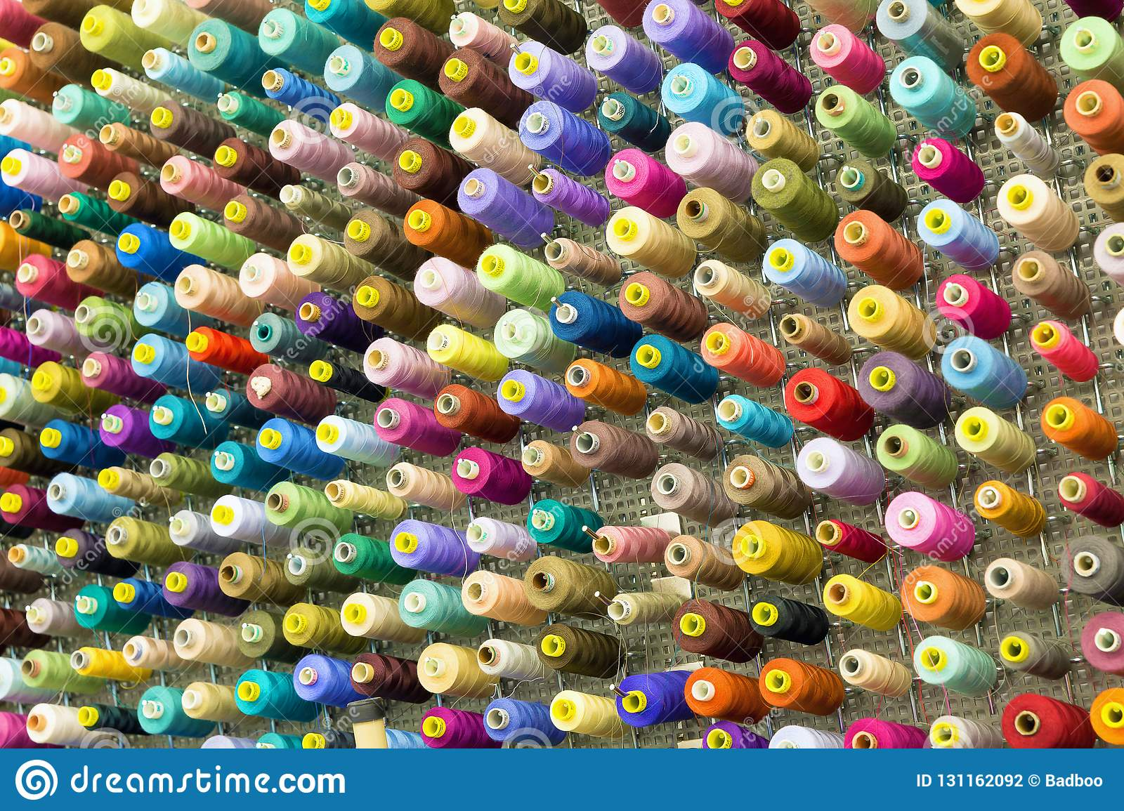 Spools with colorful sewing threads
