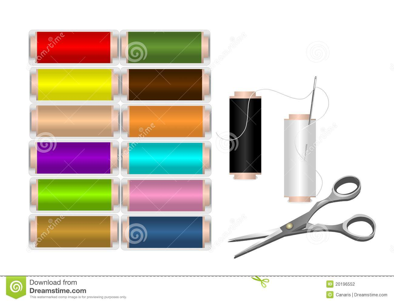 Spools of colorful thread, cdr vector
