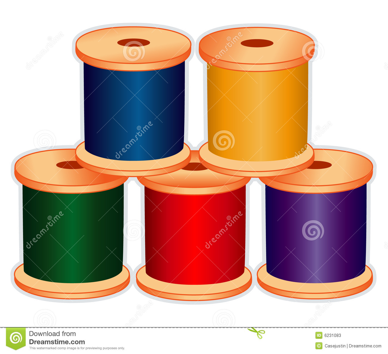 Spools Of Thread In Jewel Tones Stock Vector Illustration Of