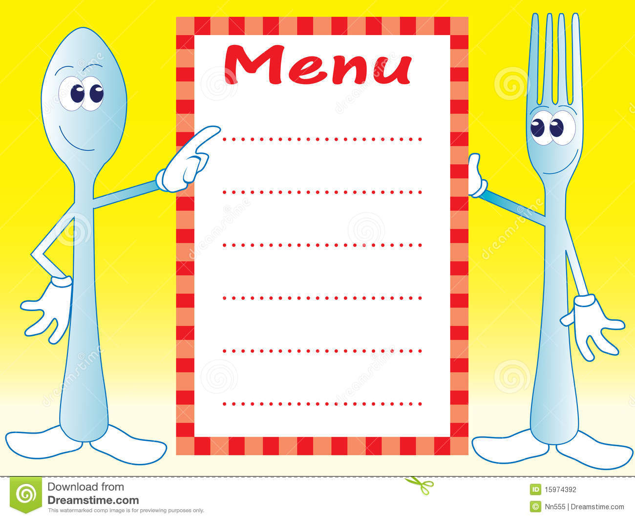 Spoon And Fork Cartoon Characters Stock Photography - Image: 15974392