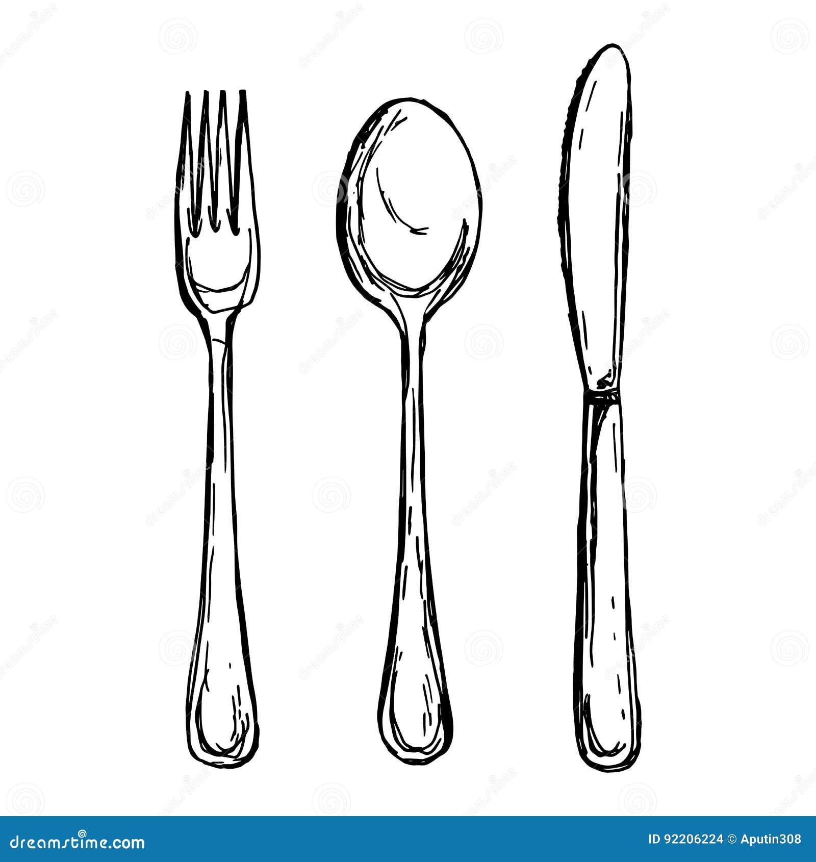 Vector Illustration Of Vintage Spoon Fork And Knife