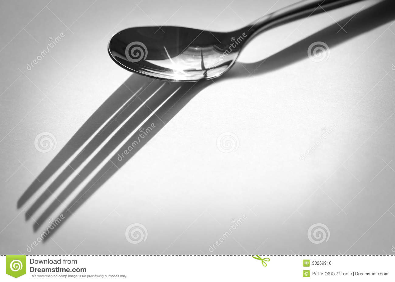 Spoon With Fork Shadow Stock Photo Image Of Spoon Nobody 33269910