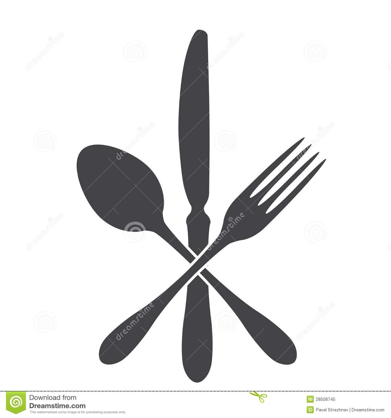 Spoon knife and fork cross royalty free stock photo image