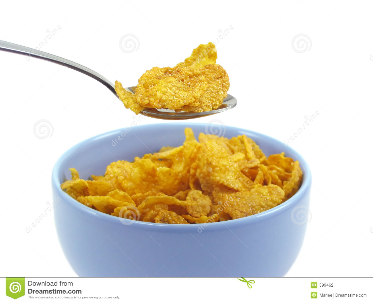 Stock Photography: Spoonful of cereal flakes